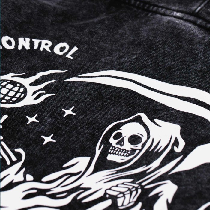 omer skateshop no place hoodie stone washed detail