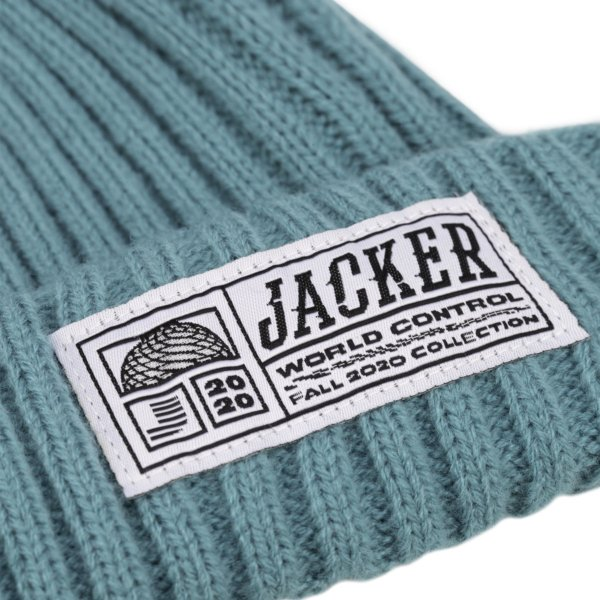 omer skateshop short beanie teal detail