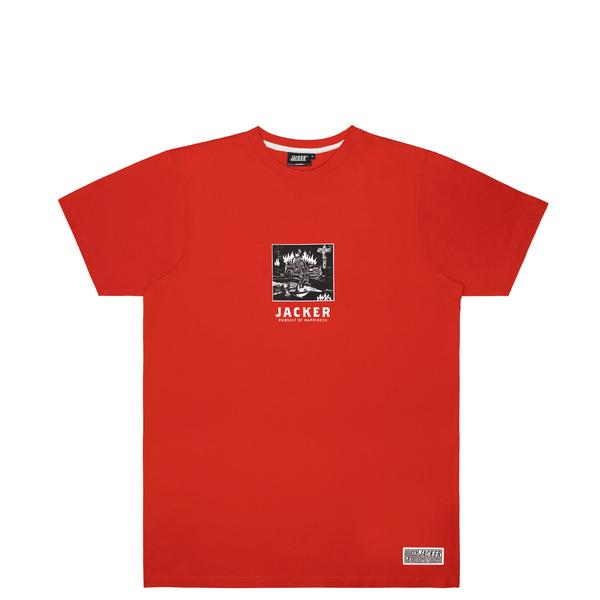 omer skateshop limitless tee red front x